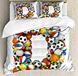 Letter D Duvet Cover Set Queen Size by Ambesonne, Typescript in Sports Inspired Style Fun Game Match Play Kids Boys Children Design, Decorative 3 Piece Bedding Set with 2 Pillow Shams, Multicolor
