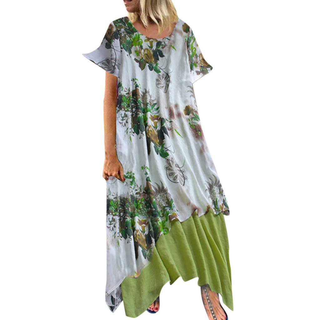 TOTOD Maxi Dress for Women Vintage Print Floral Feminino Vestido Cotton Casual O-Neck Plus Size Ladies Dresses Green