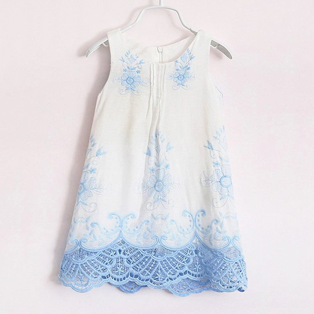 Infant Baby Girl Fashion Summer Dress O-Neck Floral Princess Sleeveless Embroidery Clothes Set