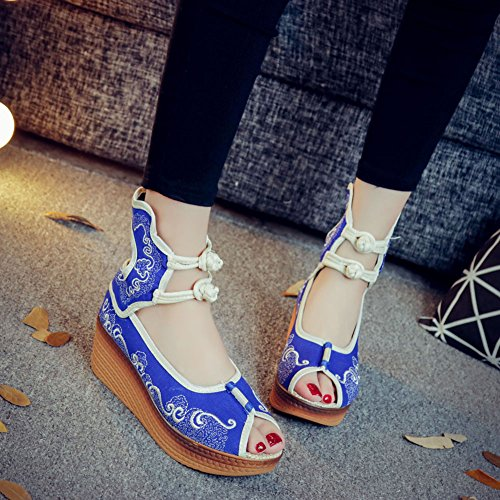 Avacostume Femmes Chinois Traditionnel Broderie Wedge Peep-toe Cheville Sandales Bleu