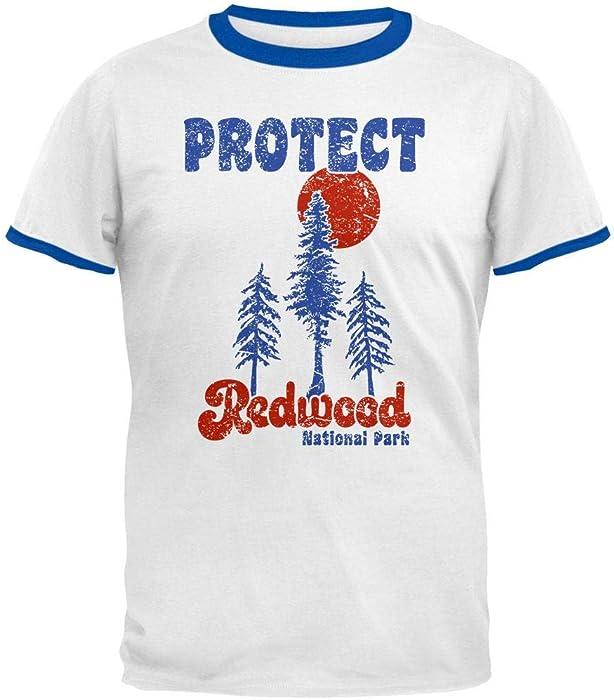 0e68d5149 Amazon.com: National Park Retro 70s Landscape Protect Redwood Mens Ringer T  Shirt White-Royal SM: Clothing