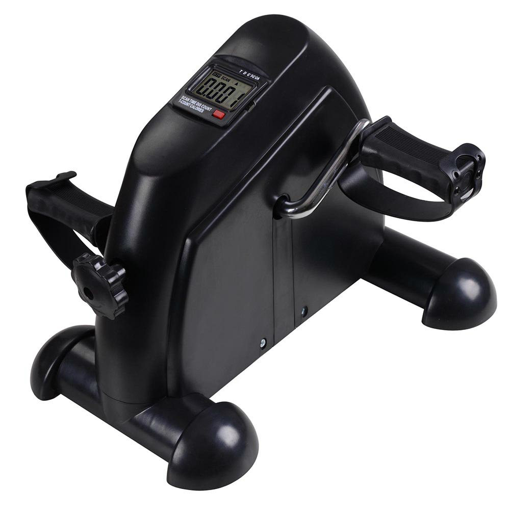 Mini Stepper Lightweight Pedal Exercise Bike Fitness Home Gym Cycle Leg Limbs Training Exerciser w/ LCD Monitor | Black