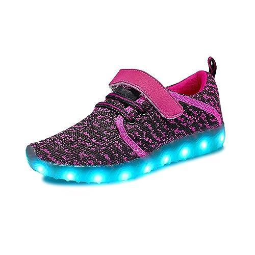 Niños Niñas Zapatillas LED Zapatos con Luces 99 Colores USB Carga Luces Luminosos Zapatos de Deporte