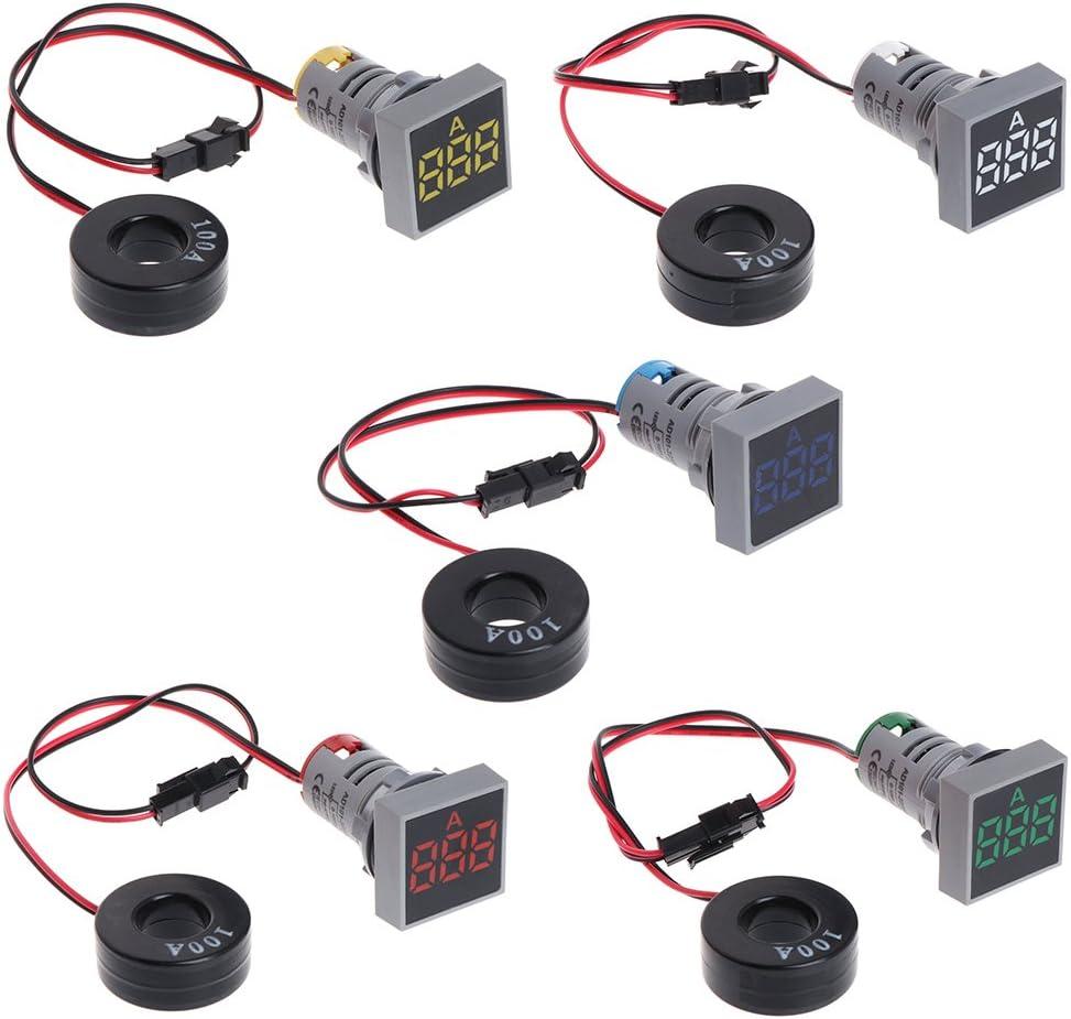 PINH-lang Appareil de mesure de courant 22 mm 0-100 A Digital Amp/èrem/ètre de courant Indicateur de courant LED Lumi/ère de signal rectangulaire