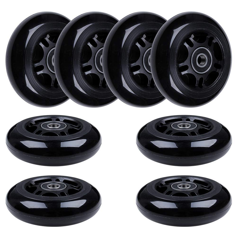 AOWISH 8-Pack 80mm Inline Skate Wheels 85A Inline Skates Replacement Wheel with Bearings ABEC-9 (Black Hub Black Wheel) by AOWISH