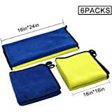 "4pcks ,16/"" x 24/"" 2packs ,Solid Car microfiber cleaning cloth automotive drying towel for auto cleaning towels premium grade microfiber auto towel Super Absorbent Lint and Streak Free 600GSM,16/"" x 16/"""