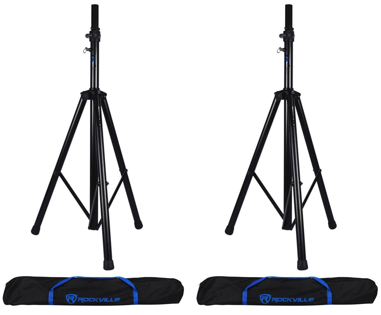 (2) Rockville RVSS4AB Tripod Speaker Stands With Hydraulic Lift-Up and Lowering Mechanism - Handles Speakers Up To 154 Lbs - Free Travel Bag Included