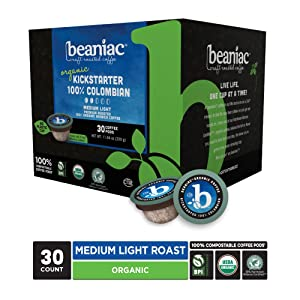 beaniac Organic Kickstarter 100% Colombian | Medium Roast, Single Serve Coffee K Cup Pods | Rainforest Alliance Certified | 30 Compostable, Plant-Based Coffee Pods | Keurig Brewer Compatible