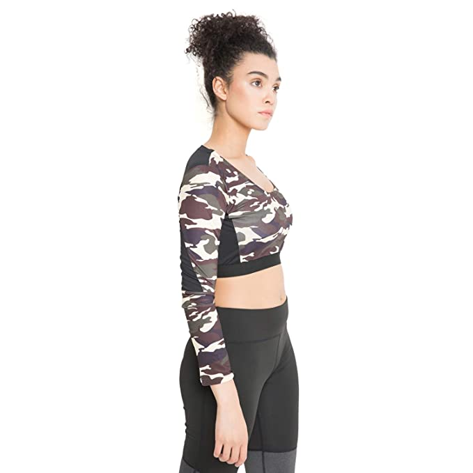 4727a7daa783b CHKOKKO Camouflages Full Sleeve Round Neck Yoga Gym Wear Workout Crop Top  for Women  Amazon.in  Clothing   Accessories