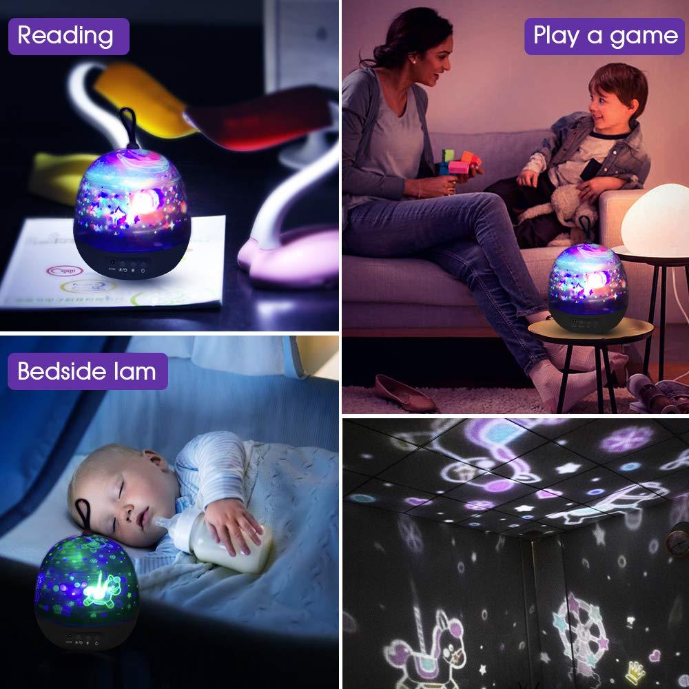 Lampada Proiettore Stelle,Luci Luna notturne per bambini con 360 Rotating Night, 8 Combinazioni dimmerabili-4 Film Diversi Lampada Proiettore Romantic Starry Sky per Home Party Compleanno (black)