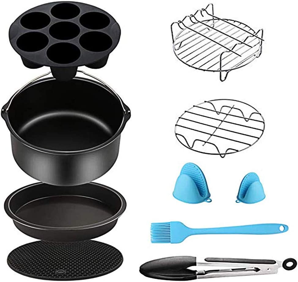 Air Fryer Accessories for Cosori Ninja and Philips, Set of 5/9, Fit all 3.7QT - 5.3QT - 5.8QT,Non-stick Barrel/Pan + Metal Holder + Multi-Purpose Rack with Skewers and Silicone Mat (set of 9)