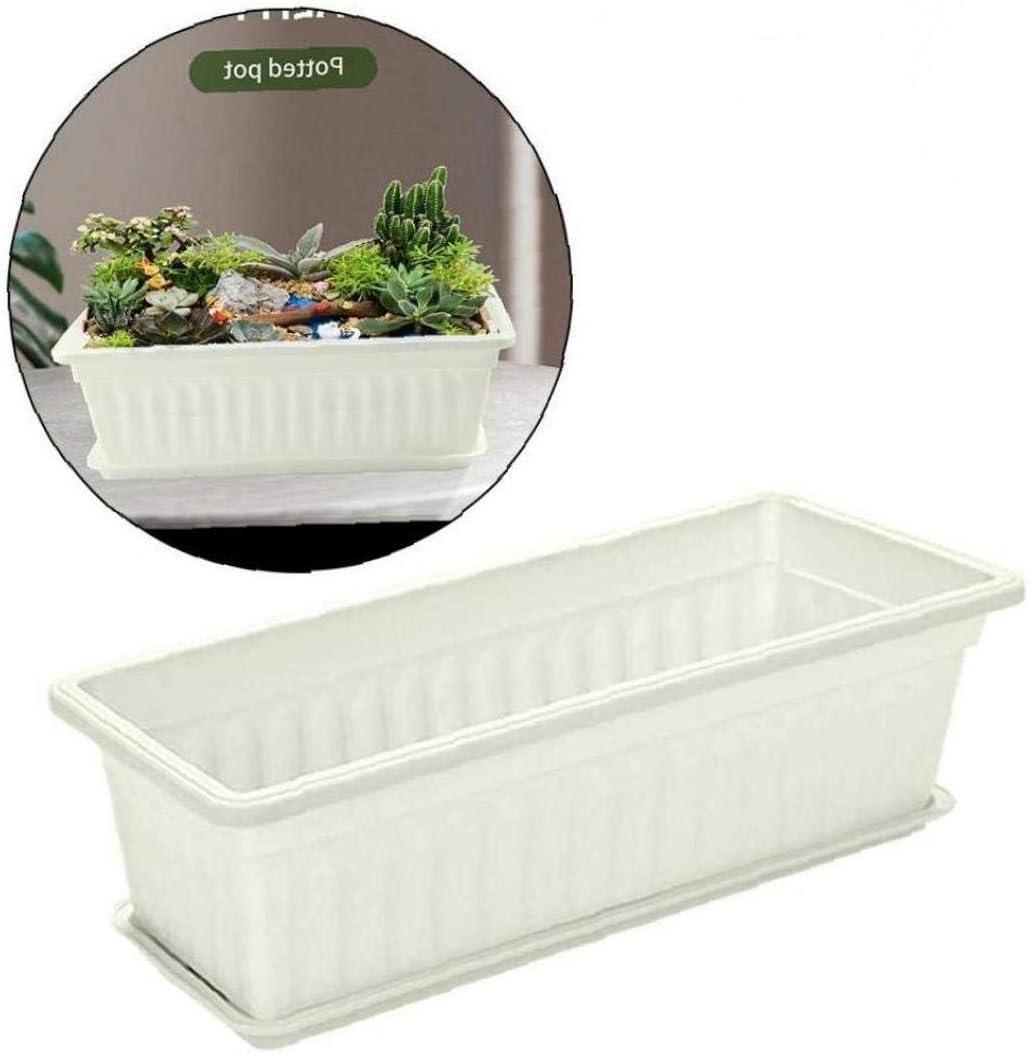 Patio 3 Packs 17Inches Rectangular Flower Window Box Plastic Planters Vegetables Growing Container Garden Flower Pot Nursery Pots for Windowsill Garden White