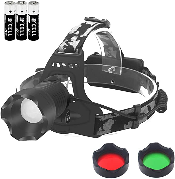 Olive Green Kombat UK Predator Headlamp With Red LED and 3x AAA Batteries
