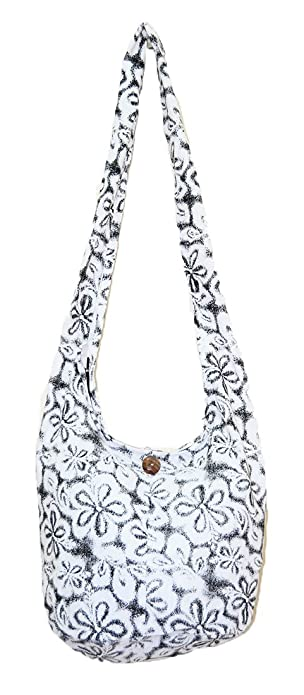 efed3913bc77 Thai Hippie Hobo Sling Crossbody Shoulder Bag Purse Handmade White Flower  Pattern Cotton Gypsy Boho Messenger Medium M652 By Pada Craft Shop   Amazon.in  ...