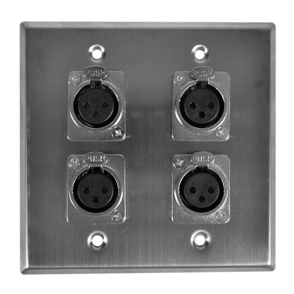 Seismic Audio SA-PLATE30 Stainless Steel Wall Plate -2 Gang with 4 XLR Female Connectors for Cable Installation by Seismic Audio