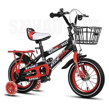 LIWORD Bicicleta para Niños con Asiento Trasero, Rueda Auxiliar, Frenos Dobles Delanteros Y Traseros,Yellow: Amazon.es: Deportes y aire libre