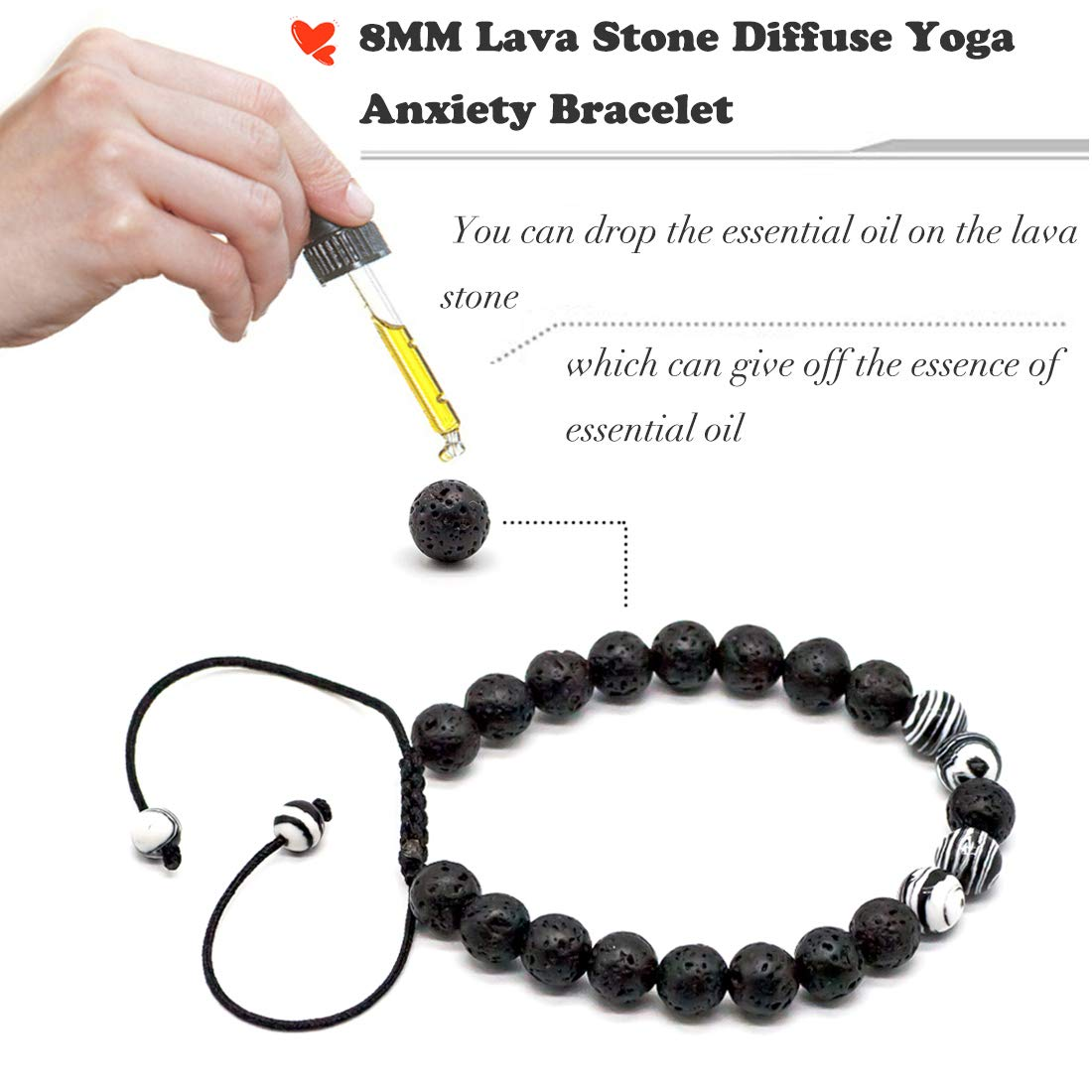 VLAWISE Mens Anxiety Essential Oil Diffuser Adjustable Bracelets for Stress Relief with Lava Bead,Aromatherapy,Healing Holistic Jewelry