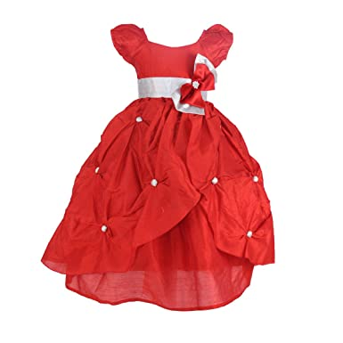 Samsara Couture Baby Girls Red Dupion Kids Birthday Party Dress