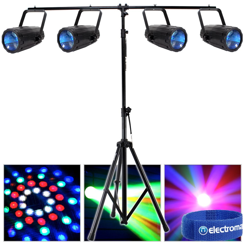 4x Beamz Single Cluster LED Moonflower Effect Lights T-Bar Disco Lighting Stand Electromarket