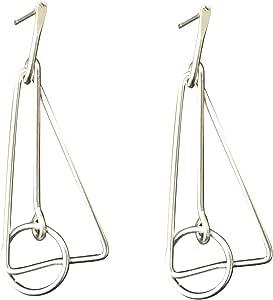 IKBEN Earrings for women, Geometric triangle and circle drop earrings, matte silver color