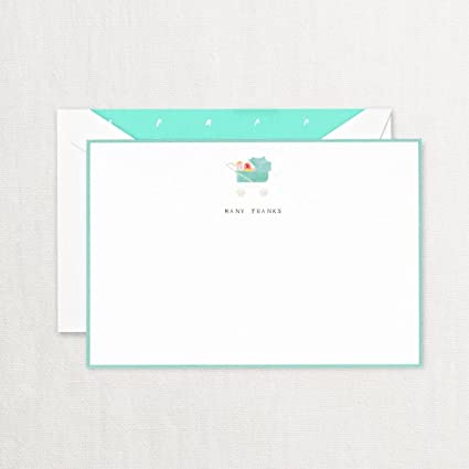 Amazon Com Crane Co Many Thanks Pram Baby Thank You Card With