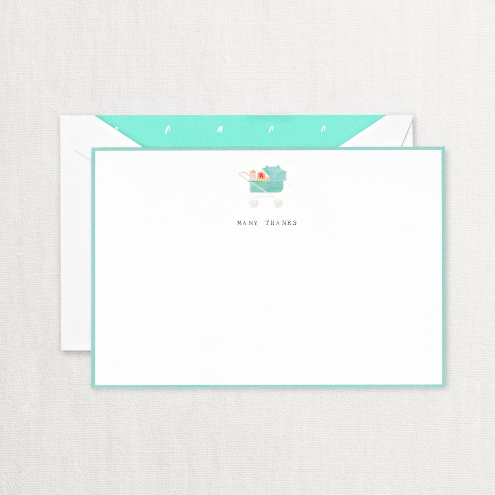 Crane & Co. ''Many Thanks'' Pram Baby Thank you Card With Lined Envelopes- Pack of 20