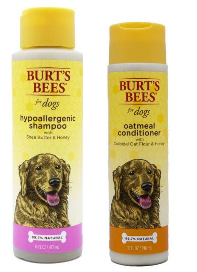 Burt's Bees For Dogs Sensitive Skin Shampoo & Conditioner Bundle: (1) Hypoallergenic Shampoo With Shea Butter & Honey (16 Oz.), and (1) Oatmeal Conditioner With Colloidal Oat Flour & Honey (10 Oz.)