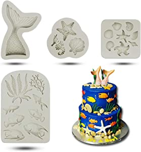 Marine Theme Fondant Cake Mold-Mermaid Tail Seashell Seahorse Seaweed Fish Starfish Coral Conch Silicone Mold For Under The Sea Cake Decoration Candy Chocolate Polymer Clay Sugar Craft Cupcake Topper