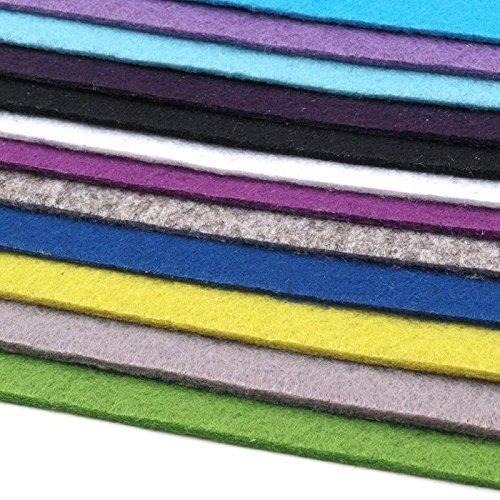 12 Filzplatten Bastelfilz Filz Farbmix 2-3 mm dick DIN A4 20x30 cm
