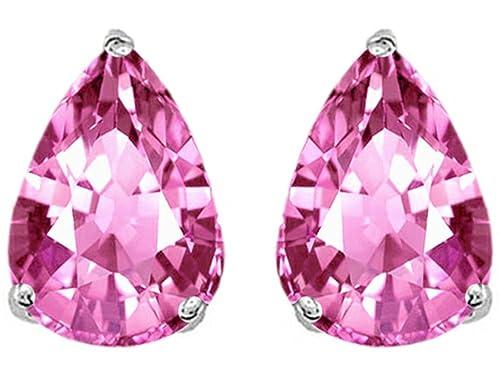 Star K Pear Shape 9x7mm Created Pink Sapphire Earrings Studs Sterling Silver