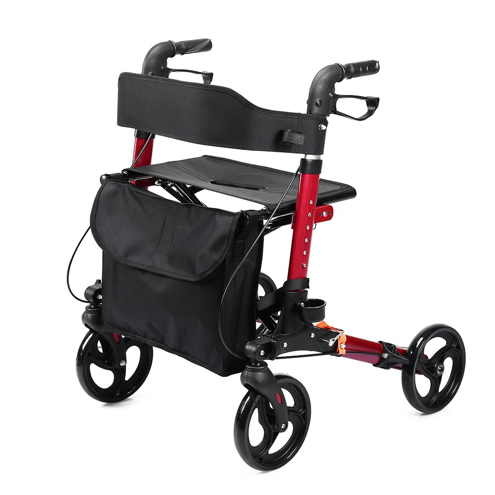 ELENKER Euro Style Rolling Walker Compact Folding Rollator with Comfortable 18.11x 9.84 Inch Seat