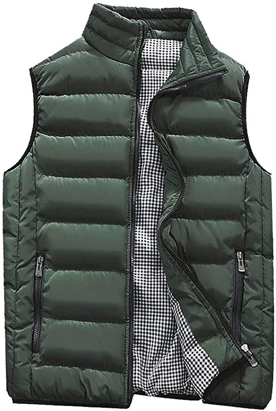Orfilaly Men's Outdoor Casual Stand Collar Padded Puffer Vest Coats Warm Sleeveless Jacket Gilet