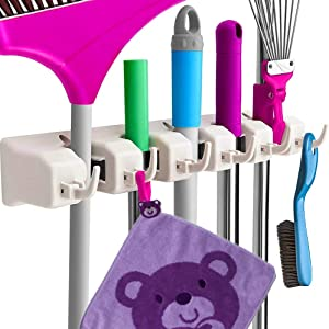 Mop and Broom Holder Wall Mount and Garden Tool Organizer, Closet Storage, Kitchen Rack, Ideal Tools Hanger and Garage Organizer for Kitchen Garden, Garage, Laundry Room (5 Position 6 Hooks)