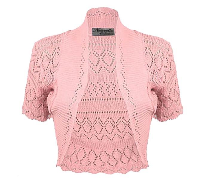 New Ladies Plus Size Knitted Crochet Bolero Shrugs Womens Cardigan