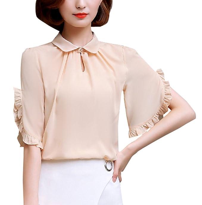 Smalltile Mujeres Verano Tops Casual Colores Lisos Blusa de Gasa Shirts Elegantes Solapa Manga Corta Camisas