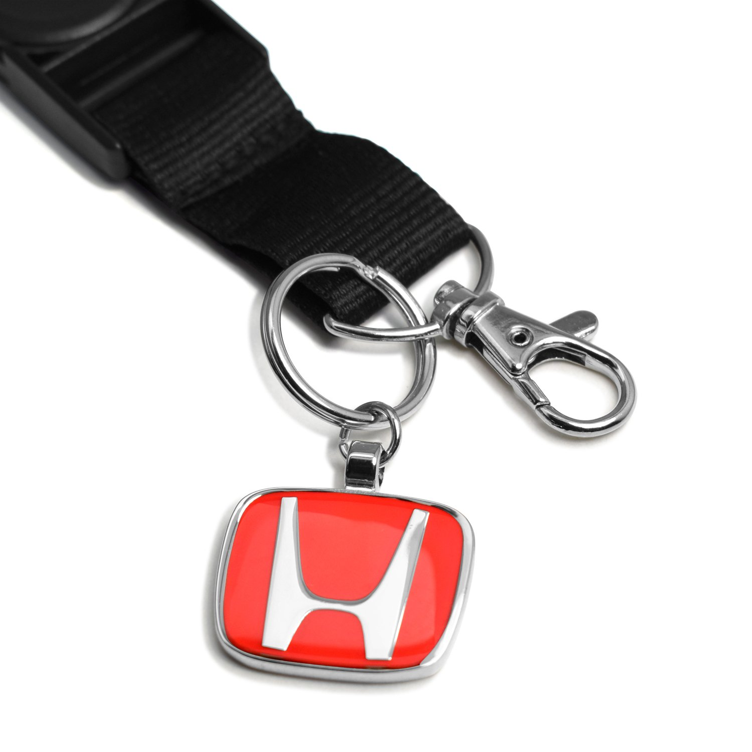 iPick Image Black Nylon Lanyard with Red H Logo Key Charm Honda