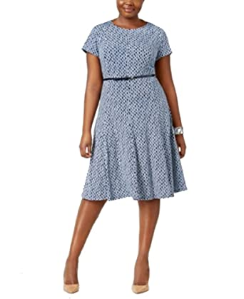 6cffb6eed3816 Jessica Howard Plus Size Printed Fit & Flare Dress (NavyBlue, 16W) at  Amazon Women's Clothing store: