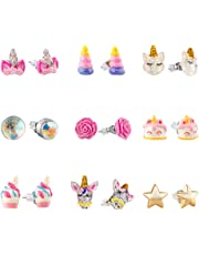 Hypoallergenic Earrings Set for Little Girls, Children's Colorful Cute Unicorn Earrings for Kids …