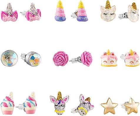 Gold Penguin Stud Girl Earrings,9K Solid Gold Hypoallergenic Earrings Little Girl Gold Birthday Earrings RoseWhite Red Enamel Earrings