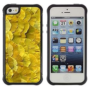 WAWU Funda Carcasa Bumper con Absorci??e Impactos y Anti-Ara??s Espalda Slim Rugged Armor -- flowers floral spring summer nature yellow -- Apple Iphone 5 / 5S
