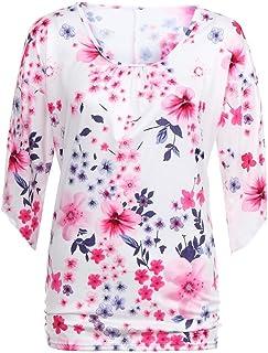 Longra T-Shirt con Maniche Lunghe Stampate da Donna Camicia Stampa Floreale Donna Camicetta Casual Top Girocollo Camicetta Manica Corta Maglietta Donna Elegante,S-3XL