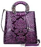Pijushi Designer Floral Purses Women's Top Handle Handbag Leather Tote Bag Holiday Gift 6013 (Violet Floral)
