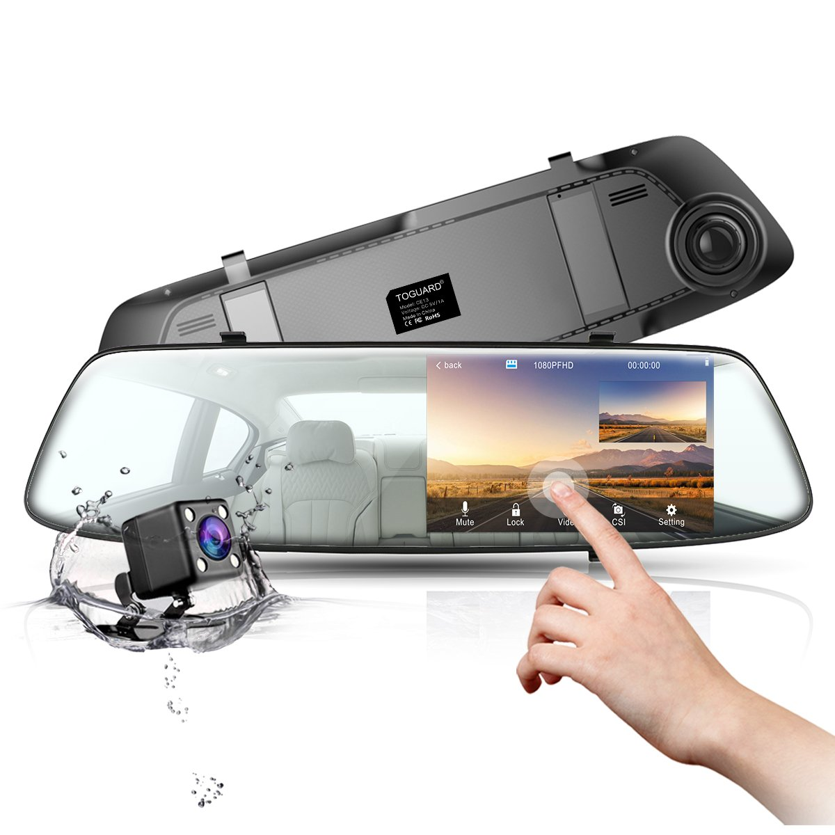 TOGUARD Backup Camera Dash Cam Rear View Mirror Dual Dash Cams 4.3 Inch Touch Screen 1080P Front Car Camera Video Recorder and with Parking Monitor G-Sensor Loop Recording