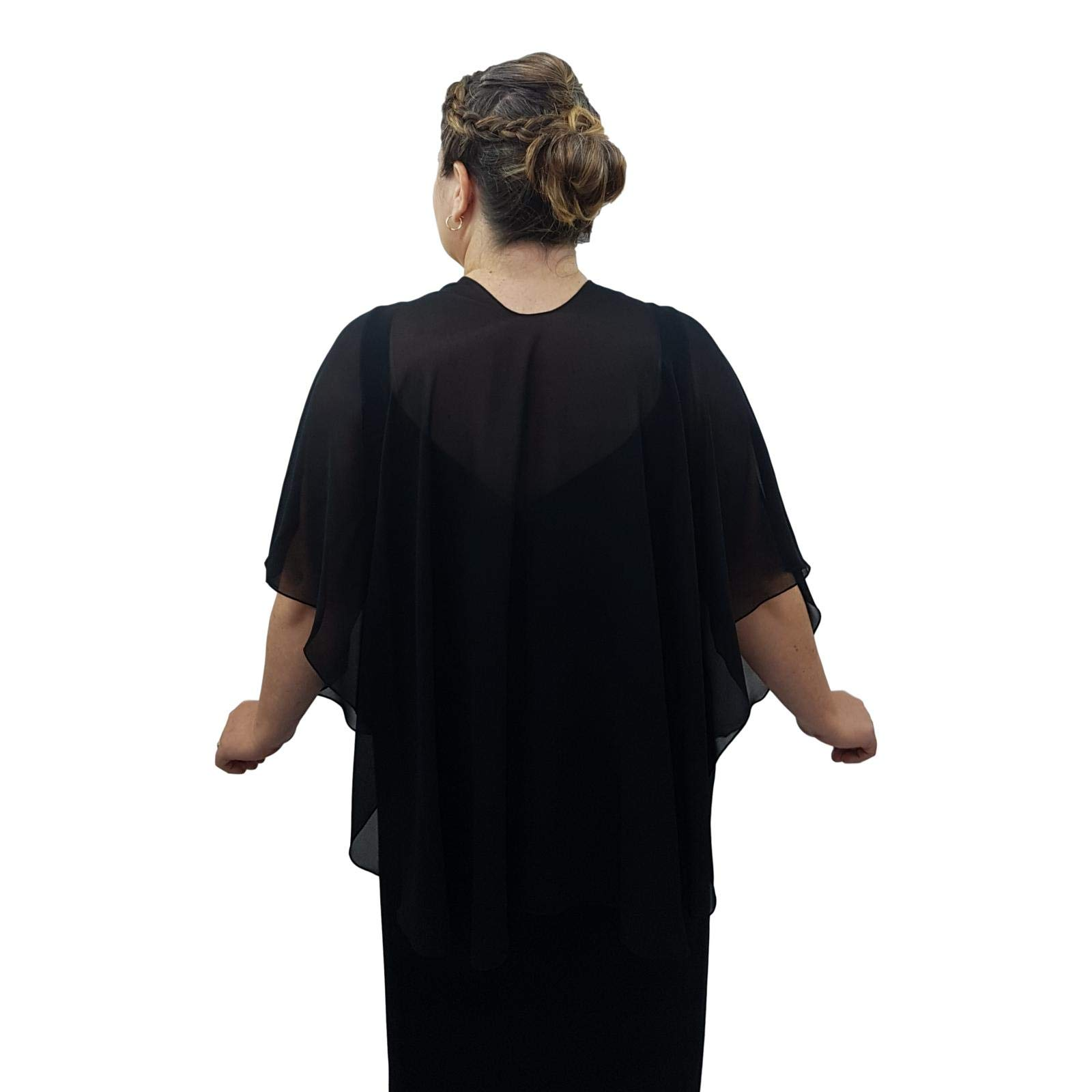 eXcaped Women's Evening Shawl Wrap Sheer Chiffon Open Front Cape and Silver Scarf Ring (Black) by eXcaped (Image #5)