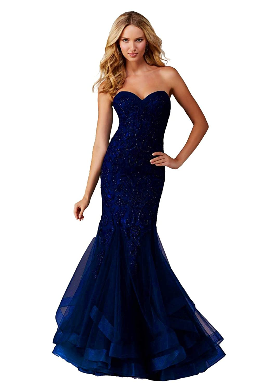 Royal bluee Jerald Norton Ltd Women's Sweetheart Mermaid Evening Dress Beaded Applique Tulle Party Ball Gowns Purple
