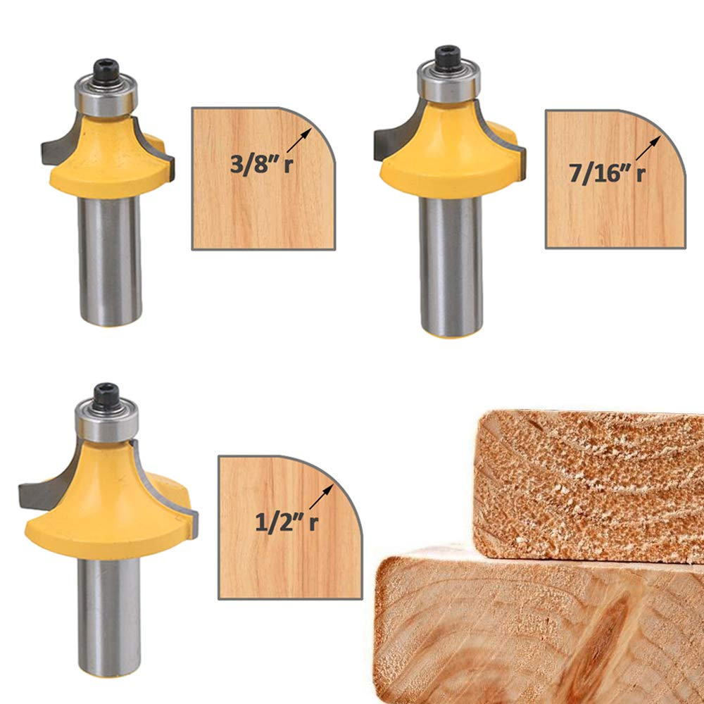 Bestgle Set of 6 Roundover Edging Router Bit Set 1/2-Inch Shank Woodworking Milling Cutter Tools, 1/8'', 1/4'', 5/16'', 3/8'', 7/16'', 1/2''Radius by Bestgle (Image #3)