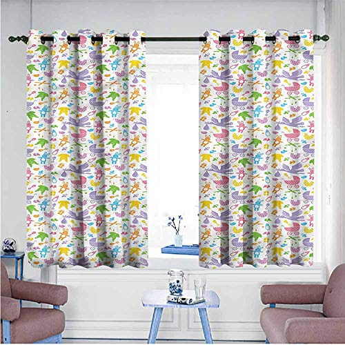 VIVIDX Sliding Door Curtains,Baby,Newborn Toys Stroller,Grommet Curtains for Bedroom,W63x45L
