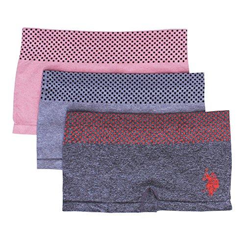 U.S. Polo Assn. Womens 3 Pack Dotted Waist Boyleg Panties Set Charcoal Heather/Grey/Pink Large