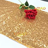LQIAO Sequin Table Runner Gold 12x108-in, Factory Best Sparkly Table Runner High End Party/Wedding/Christmas Decoration, Pack of 20 PCS