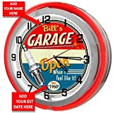 Personalized Vintage Red Neon Light Garage Clock from Redeye Laserworks Review